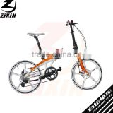 20 inch aluminum alloy frame foldable bike Disc brake magnesium integrated wheels bicycle with derailleur