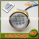 9*3W/ 27W C ree Led multi-color RGB Boat Drain Plug Underwater Light for Fishing, Swimming,Diving waterproof IP68