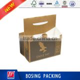 Kraft Paper Box For 6 bottles Wine/Beverage/Juice/Beer Delivery Use,Custom Logo Printing Kraft Paper Packaging Box With Handle