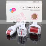 3 in 1 Kit Derma Roller Titanium Micro Needle Roller 180 600 1200 Needles Skin DermaRoller for Body and Face ..