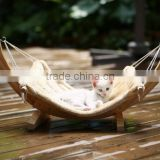 Wooden pet hammock swing, cat hammock bed with soft comfortable cushion, cat hammock swing with wood stand