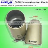 Universal Carbon Exhaust Tip Akrapovic golden color exhuast tip car stainless steel exhaust muffler tip