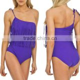 Vibrant Style Ladies Sexy Swimsuit One Shoulder Design Purple Swingy Festival Fringe One Piece Beach Wear