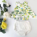 Tropical Lemon Pattern Cotton Fabric Baby Clothes Sleeveless Shirt Shorts Set