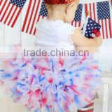 Hot sale infant girl chiffon skirt sleeveless girls party dress July 4th baby summer fluffy dress