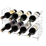 High Quality 8 Bottle Wine Rack Clear Storage Stand Detachable Double Layer Display