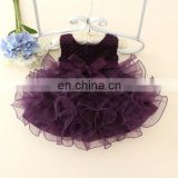 Purple Flower Baby Dress Tulle Bow Smash Tutu Girl Dress Ballerina Party Invitations