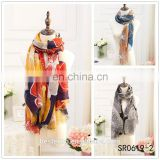 wholesale woman fashionable flower long tassel shawl china factory malaysian scarf hijabs