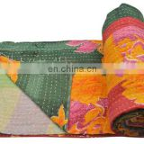 Vintage Kantha Quilt Gudri Reversible Throw Ralli Bedspread Bedding India Quilted Vintage Decor Handmade old bangali vintage