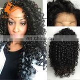 Kinky Curly Glueless Big Braid Full Lace Wig Light Curly Style 100% Human Hair Free Part Wig Bangkok For Blacks