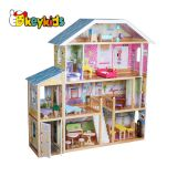 2019 Original Design children pretend play wooden mansion dollhouse with multicolor W06A358B