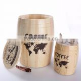 Natural color finished wooden coffee bean barrel,wood candy barrel                                                                         Quality Choice