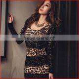 2015Women's Fashion Leopard Print Lace DressTight Black Mini Dress