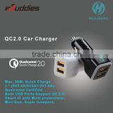 Qualcomm certified Quick Charge 2.0 Dual QC 2.0 USB Ports Car Charger for Samsung Galaxy S6/S6 Edge/Note 4/Note 5