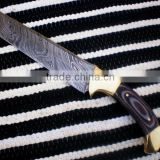 "udk h84"" custom handmade Damascus hunting knife / TANTO knife with sheet and brass bolsters handle"