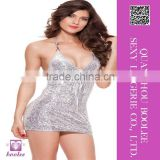 New arrival wholesale sexy shiny clubwear sling silver skirt for woman