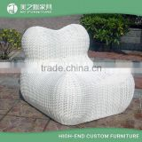 2016 new design cute two people shaped white outdoor furniture rattan love seat sofa without backrest