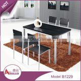 Home furniture custom size1200mm square black melamine wood dinning table set with 4 chairs