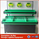 2 layers green single side metal vegetable and fruit display shelves for supermarket/store