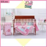 100%Cotton Crib Bedding Happy Birds Baby Girl Bedding Set