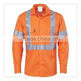 HiVis D/N Cotton Shirt with Cross Back Generic Reflective Tape - long sleeve