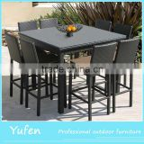 Luxury outdoor rattan modern dining set with high stool                                                                                                         Supplier's Choice