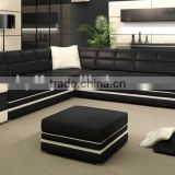 Modern big black genuine italy leather corner office sofa HYZ36                                                                         Quality Choice
