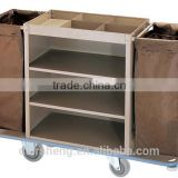 Multi-functiion Cleaning Service Trolley,Stainless steel Laundry Cart/Linen Trolley with cloth for hotels service trolley