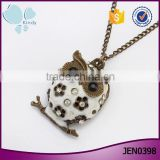 Accessories womens antique gold plated vintage diamond owl pendant necklace                                                                                                         Supplier's Choice