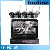 Looline White Vandal Proof wireless 720P Wifi Bullet IP Camera System 12V with 10Inch Touch Screen