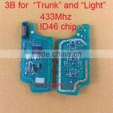 "433Mhz ID46 Chip for Peugeot 3 button flip remote control PCB board for ""Trunk"" and ""Light"" Button"