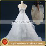 ASAW03 Heavy Crystals Beaded Ball Gown Bridal Dresses Floor Length Cap Sleeve Ruffled Wedding Dresses Plus Size