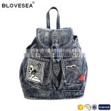 Trending style rhinestone denim backpack bag with badges fashion sports girls backpack bag