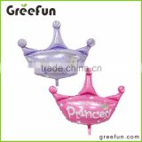 Lovely Pink And Purple Crown Foil Balloon For Kids Princess Crown Helium Balloon For Baby And Girls With High Quality