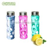 borosilicate glass drink bottle/sports water bottle with silicone cover and handle and straw wholesale
