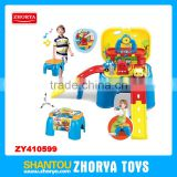 Zhorya Wholesale 2 in 1 multi-function baby learning toys with sound and light lovely baby gas station railway chair