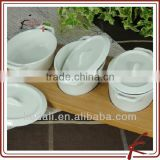 Hot Household Item White Ceramic Porcelain Snack Dish With Bamboo Tray