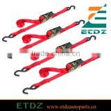 1x10' Red Ratchet Tie Down with Hooks - 4 pack