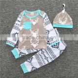 S17490A Baby Boys Girls Clothes Set Deer Tops Hoodie + Pants Kids Children's Clothing