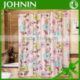best selling new design heat transfer printing waterproof customized beautiful flower shower curtain