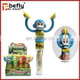 Funny monkey drum tube candy filled in plastic toys