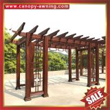 outdoor garden sunshade wood look style aluminium alu aluminum metal park gazebo grape trellis Pergola vine grids shelter