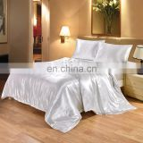 Silk Like Satin Duvet Cover Set Light white Silky Microfiber Quilt Cover  imitate silk bedding set