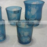 Hand made blue frosted leaf design hurricane candle holder
