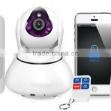 Home security alarm system with ceramic lamps for high quality infrared image,connecting alarm sensors with IP camera