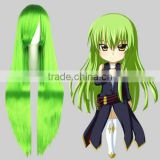 High Quality 100cm Long Straight CODE GEASS Green Synthetic Anime Wig Cosplay Hair Wig Party Wig