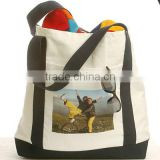Custom Digital Logo Printed Polyester Beach Cotton Canvas Tote Bag, Big Customized Canvas Tote Bags