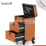 Hot product!Makeup artist trolley makeup organizer case with beautiful mirror