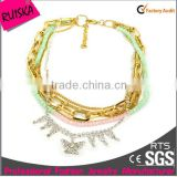 wholesale gold plating chain colorful beads chain with rhinestone buttlefly cheapest necklace