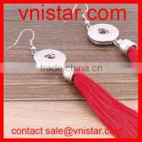 Vnistar metal snaps red tassels earring with interchangeable button charm snap on NE011-1